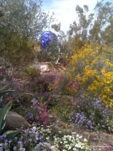 Blue Sphere In Flowers by Jeffrey Willenbrink