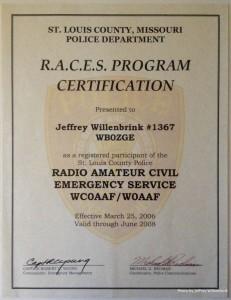 RACES Program Certification Jeffrey Willenbrink