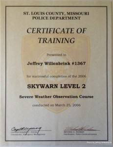 SKYWARN Level 2 Certification Jeffrey Willenbrink