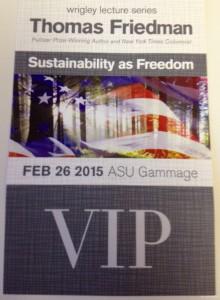 ASU Thomas Friedman Sustainability Lecture VIP Pass