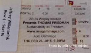 ASU Thomas Friedman Sustainability Lecture VIP Ticket